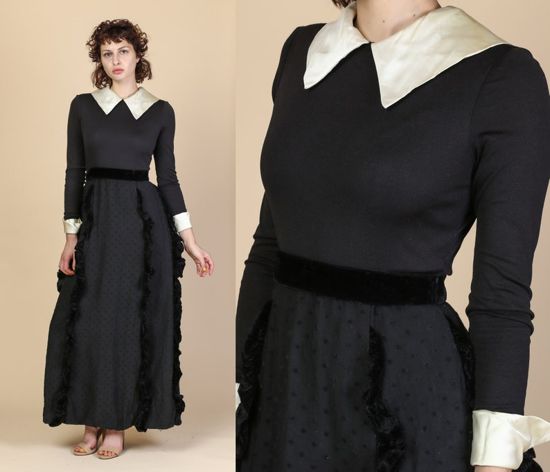 306ee7ce86 70s Gothic Black Maxi Dress Extra Small Vintage Wednesday
