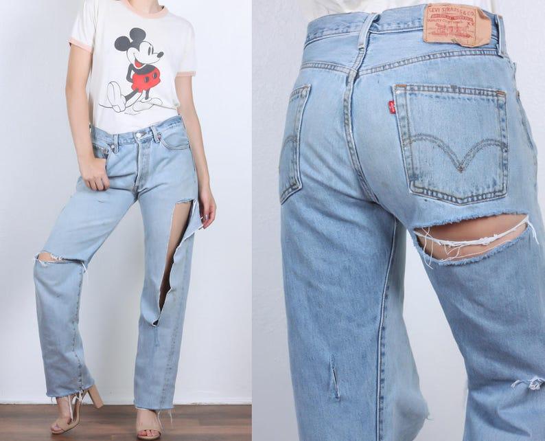d109d9cba9a7 80s Ripped Levi's 501 Jeans Vintage Denim Pants Straight | Etsy