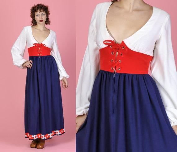 b75ae73b6d 70s Red White   Blue Boho Maxi Dress Small Vintage Casa de