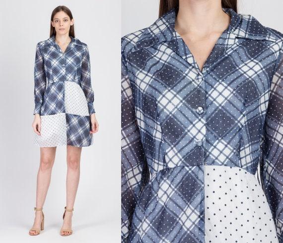 60s 70s Blue & White Plaid Polka Dot Mini Dress -… - image 1
