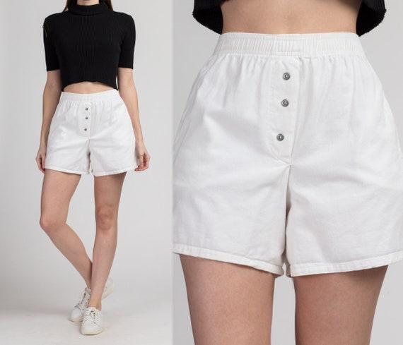 90 White Cotton High Waist Shorts - Small | Vintag