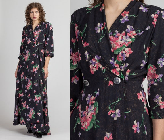 Vintage 1940s Black Floral Robe - Small | 40s Sayb