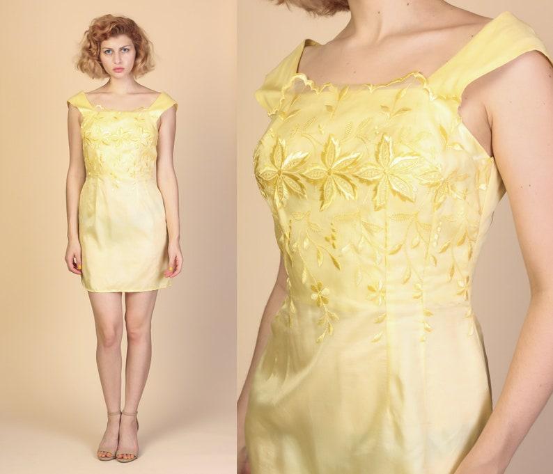 7f55f9cd79c84 60s Lace Overlay Mini Dress Medium Vintage Low Back Yellow   Etsy
