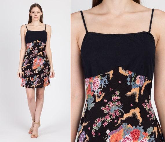 90s Black Floral Mini Sundress - Small | Vintage A