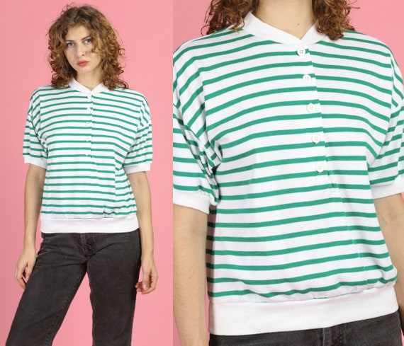 80s Green & White Striped Collarless Polo Top - Me