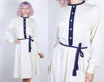 70s Belted Dress | Vintage Secretary Button Up  Long Sleeve Knee Length Dress - Extra Large to XXL