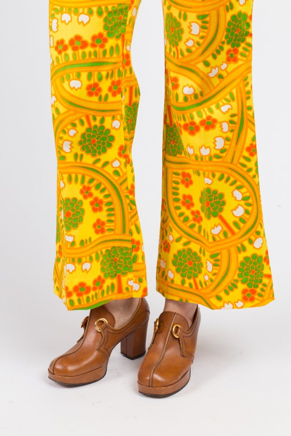 70s Lanz Psychedelic Yellow Flared Pants - Medium… - image 7