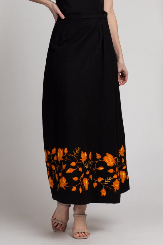 Vintage Clothing High Waisted A Line Midi Skirt Size 6 Brown Wool Skirt Small Floral Fall Clothes Women Crewel Embroidered