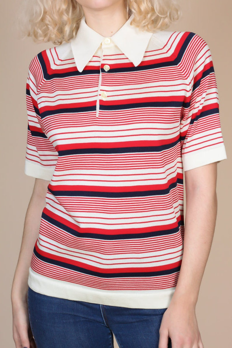 70s Striped Collared Shirt Mens Medium Vintage Red White Short Sleeve Button Polo Top