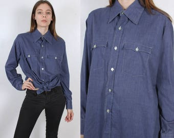70s Levis Shirt | Vintage Button Up Long Sleeved Chambray Top Mens Womens - Extra Large to XXL