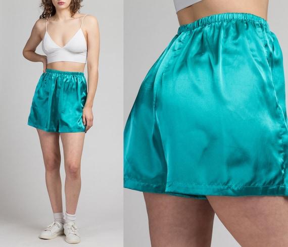 80s Turquoise Satin High Rise Lounge Shorts - Medi