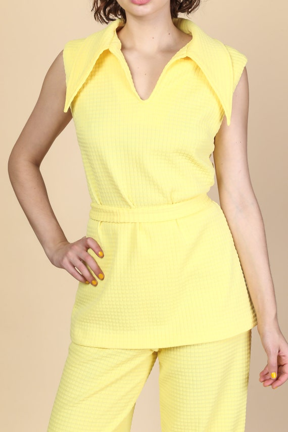 70s Mod Two Piece Outfit - Large | Vintage Yellow… - image 2