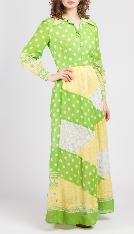 60s Floral Patchwork Hostess Maxi Dress - Small |… - image 3