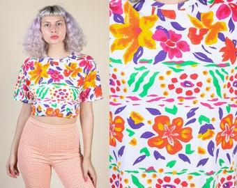 90s Floral Top   Vintage Bright Flowers Retro T Shirt - XL