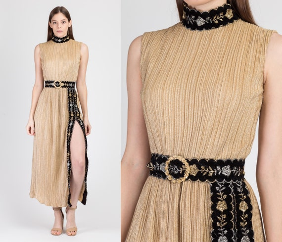 70s Metallic Gold High Slit Maxi Dress - Extra Sma