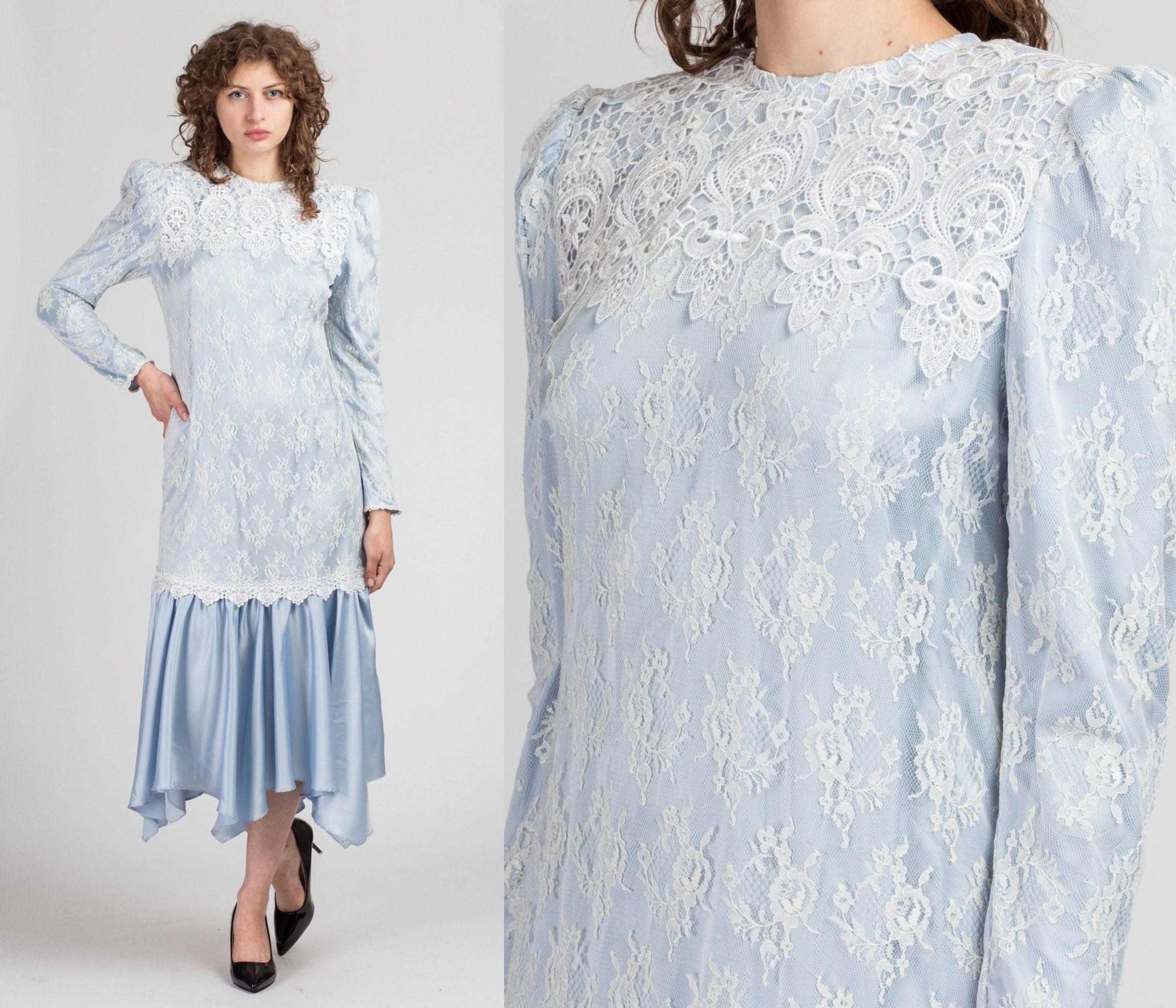Vintage Scarf Styles -1920s to 1960s 80S Scott Mcclintock Lace  Satin Midi Dress - Large  Vintage Blue White Scarf Hem Party $19.95 AT vintagedancer.com