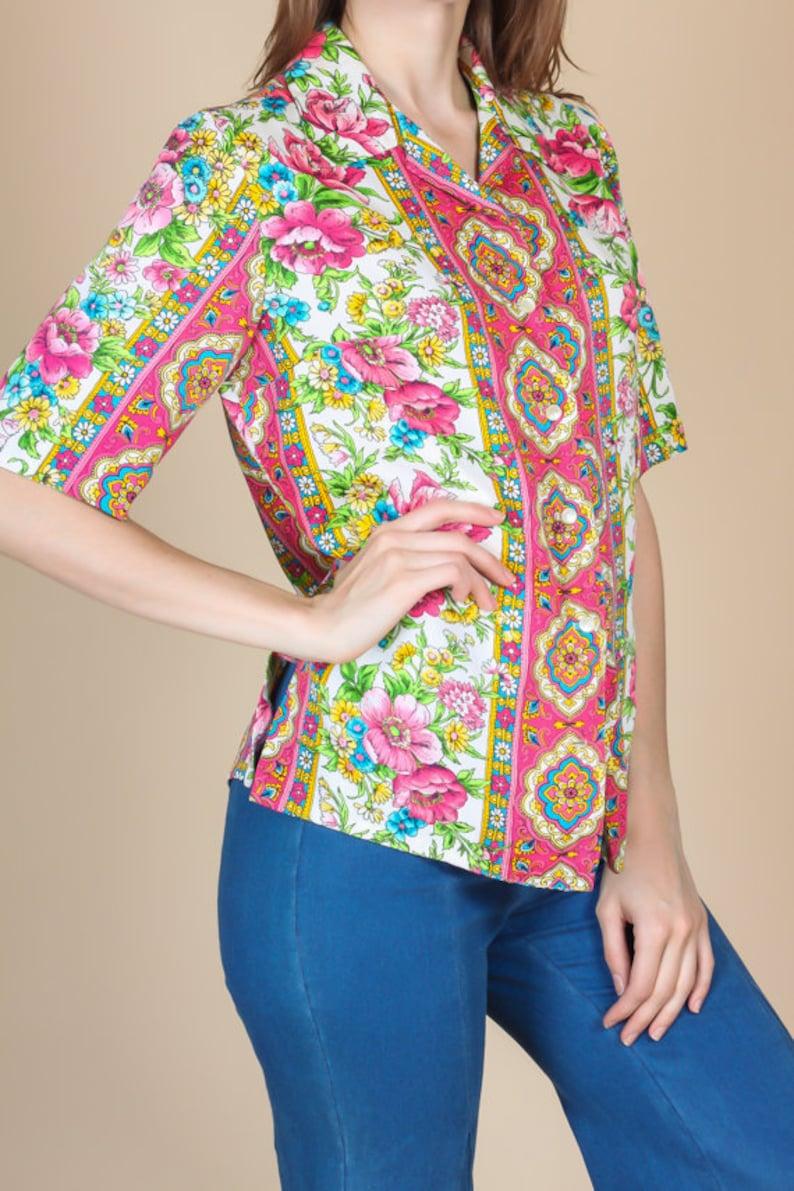 Medium 70s Pykettes Floral Blouse Vintage Button Up Shirt Short Sleeve Top