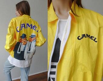 Camel Jacket 90s NEW IN PACKAGE | Vintage Tyvek Jacket Camel Cigarette Coat Windbreaker Grunge Yellow -  Extra Large xl