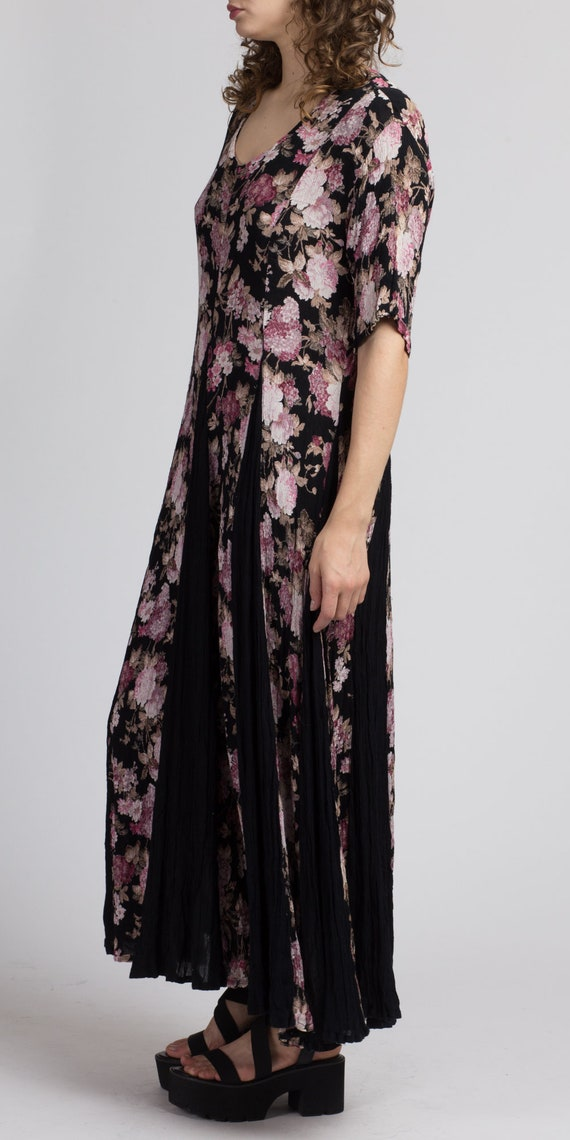 90s Boho Black Floral Maxi Dress - Large | Vintag… - image 2