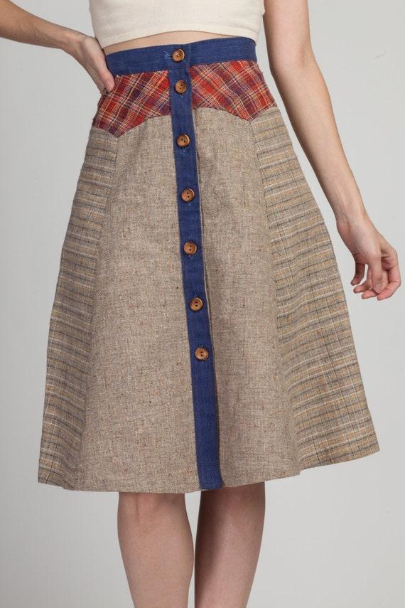 70s Pandora Boho Patchwork Skirt - Extra Small | … - image 2