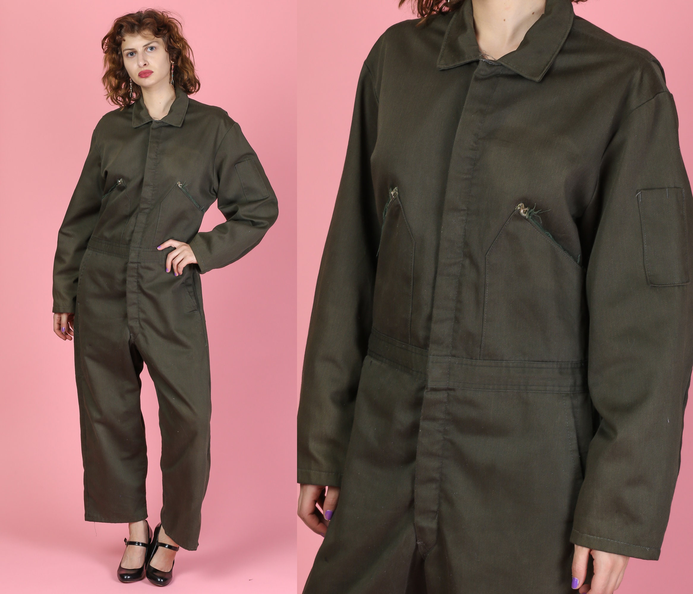 1950s Mens Suits & Sport Coats | 50s Suits & Blazers Vintage 1950S Walls Blizzard Pruf Coveralls - Mens Medium  Olive Drab Snow Suit Winterwear Jumpsuit Unisex Ski Gear $34.95 AT vintagedancer.com