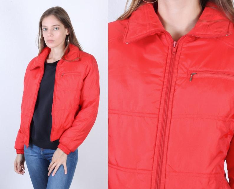 4dabb9e99 70s Puffy Jacket | Vintage Ski Jacket Collared Orange Puffer Winter Coat  Womens - Small
