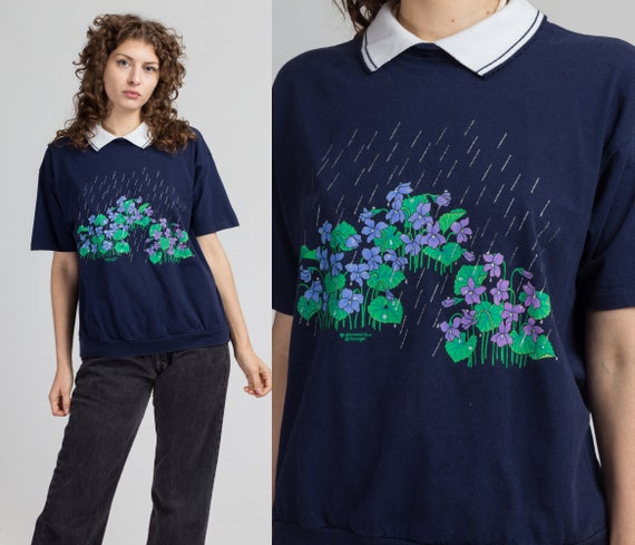 80s Raining Violets Collared Top - Large | Vintage