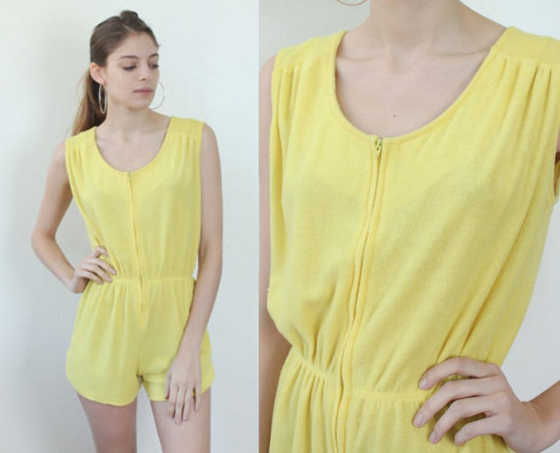 04c8a5433e6 70s Terrycloth Romper Vintage Playsuit Yellow Mod Micro Mini