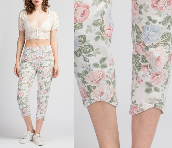 90s White Cropped Floral Jeans - Extra Small   Vin