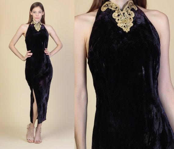 b691175eaf 80s Black Velvet Gold Trim Maxi Dress Medium Vintage Scott