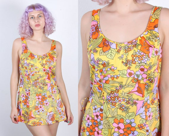 f897b980a6322 Vintage Floral Swim Dress 60s Side Slit Swimsuit Top Beach