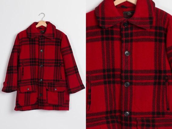 1940s Johnson Woolen Mills Red Plaid Coat - Men's