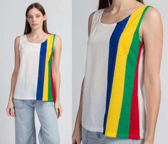 70s Striped Terrycloth Tank Top - Medium | Vintage