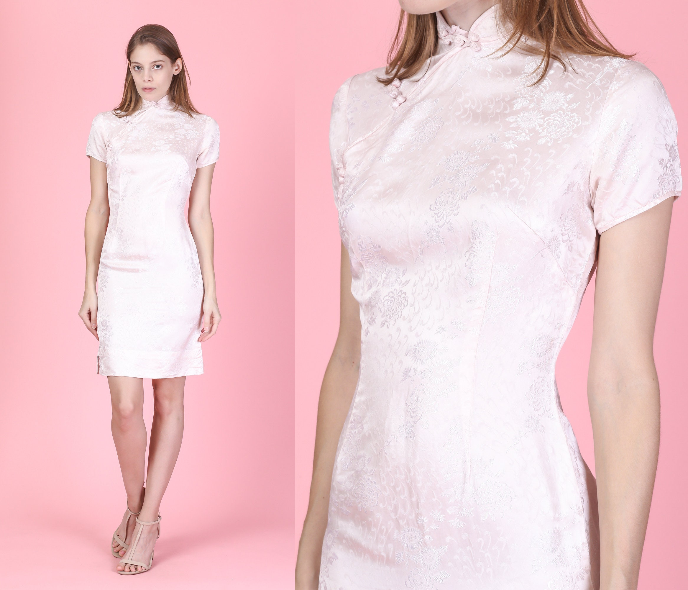 9f42557894 Vintage Cheongsam Pink Floral Mini Dress Extra Small 80s