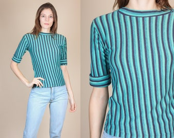 90s Striped Top - XS | Vintage 3/4 Sleeve Fitted Shirt