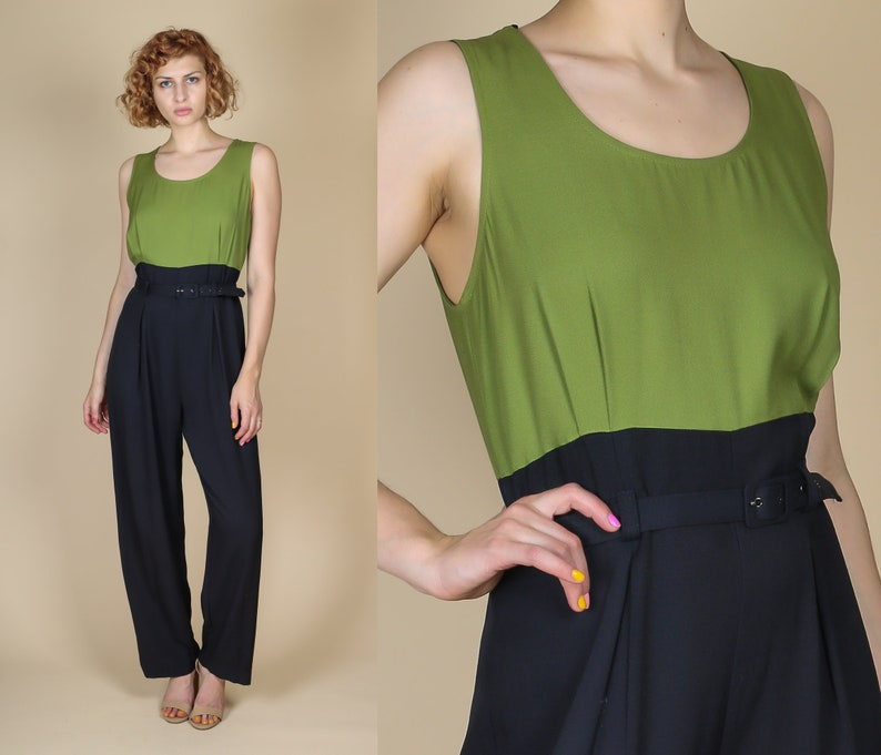 f57b9567725 90s Two Tone Minimalist Jumpsuit Large Vintage Belted