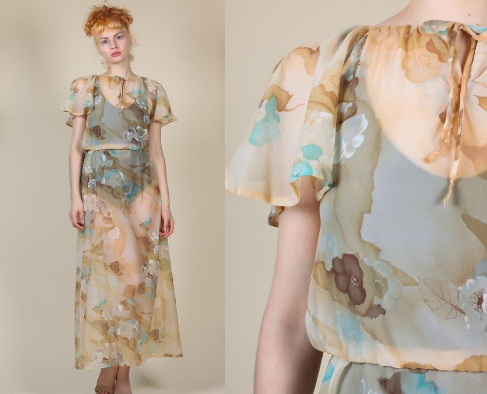 c172376e3a 70s Sheer Floral Dress Vintage Flutter Sleeve Boho Grecian