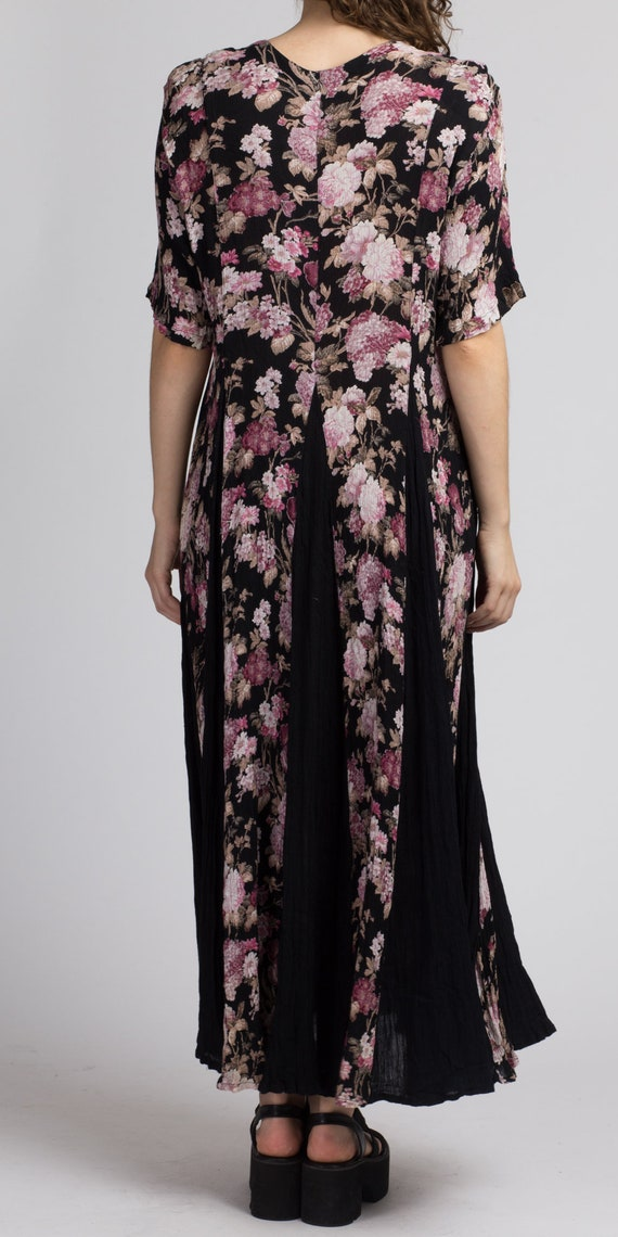 90s Boho Black Floral Maxi Dress - Large | Vintag… - image 5