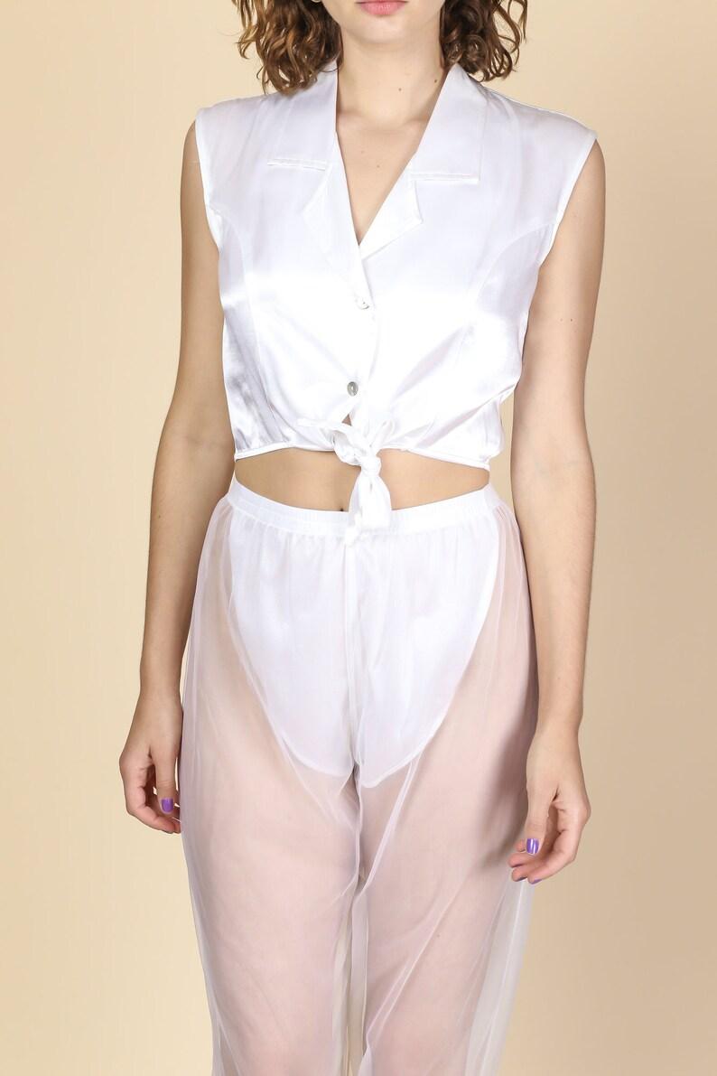 7aeb01152d8dbd White Satin Tie Waist Crop Top Medium Vintage 90s | Etsy