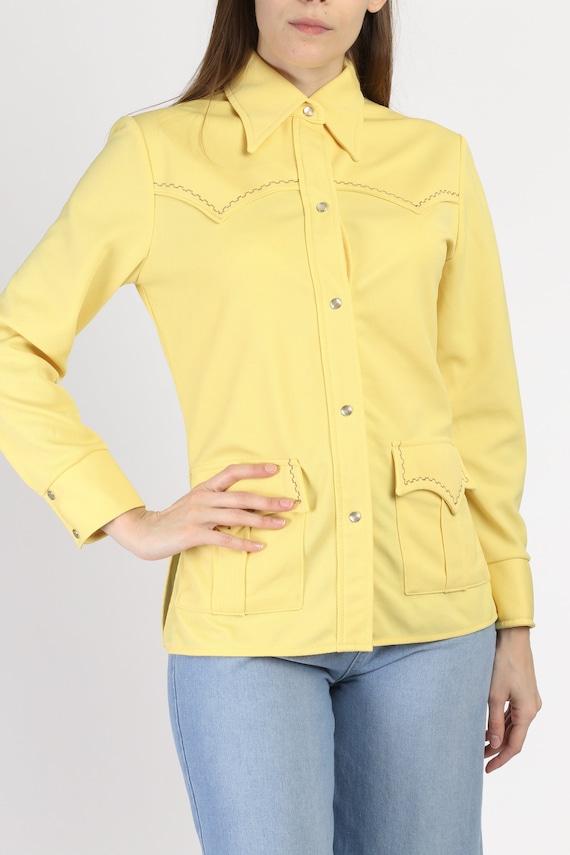 Vintage 70s 80s Caravan Western Pearl Snap Canary Yellow Medium Rockabilly Cowboy Shirt