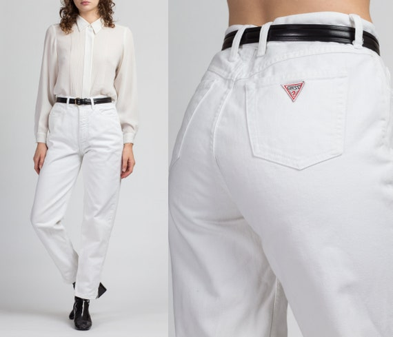 "Vintage High Waist White Guess Jeans - Medium, 29"""