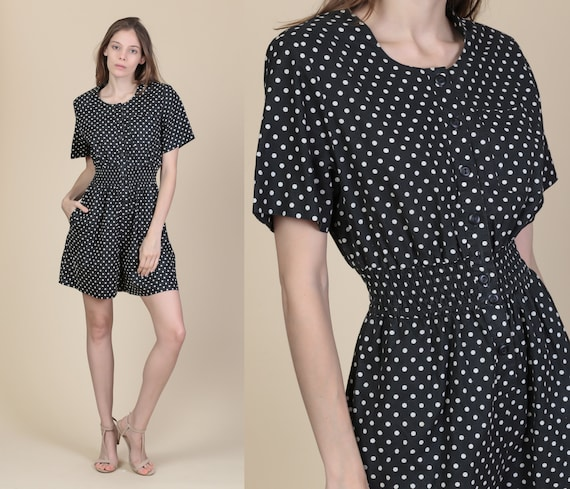 7a89dd185c3 80s Black   White Polka Dot Romper Small Vintage Button Up