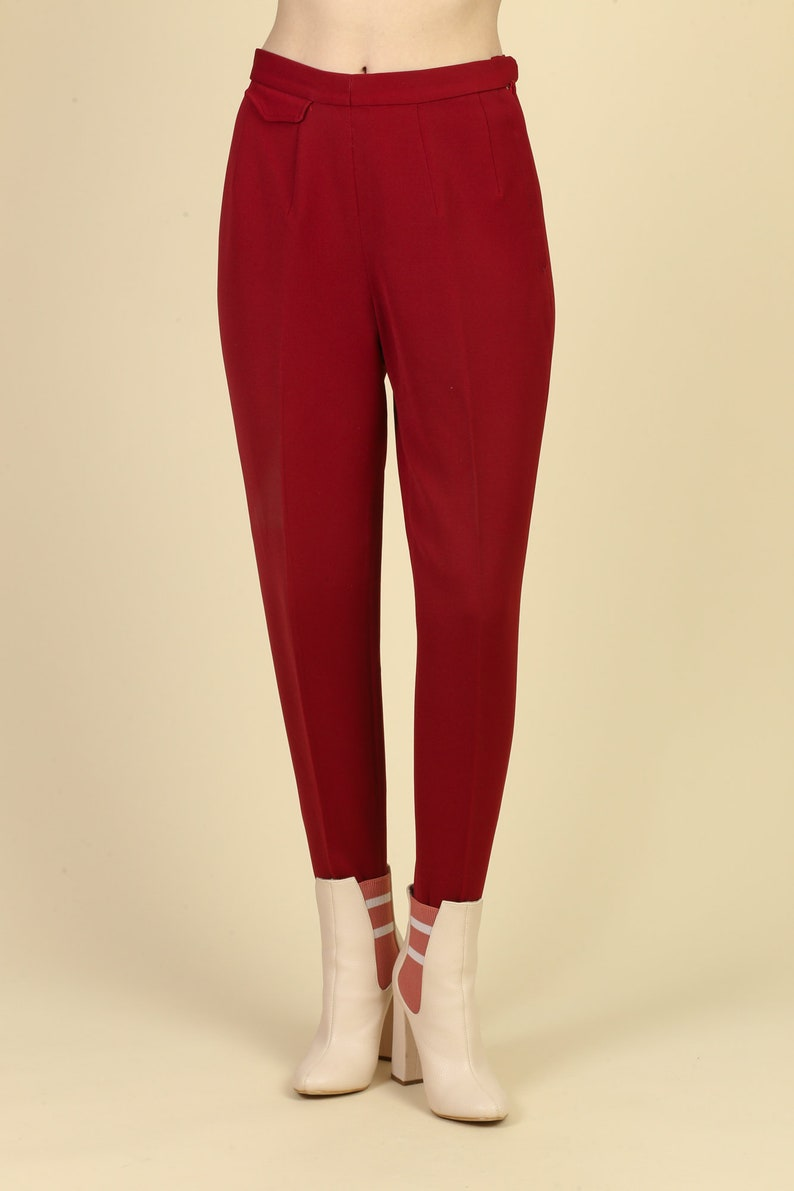 Vintage Nylastic Made In Austria High Waist Rockabilly Pants Petite Small 1950s Red Stirrup Ski Pants