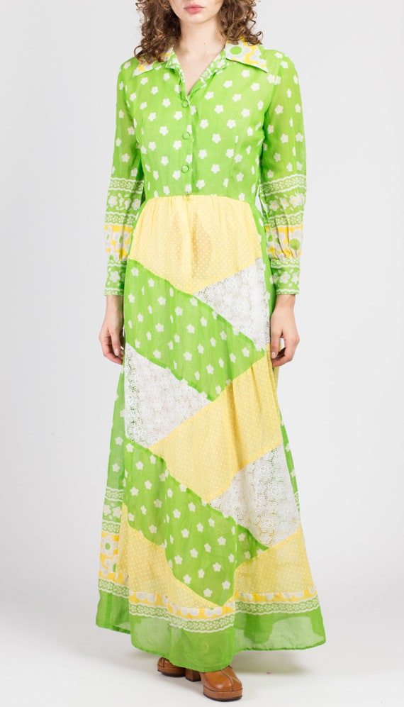 60s Floral Patchwork Hostess Maxi Dress - Small |… - image 2