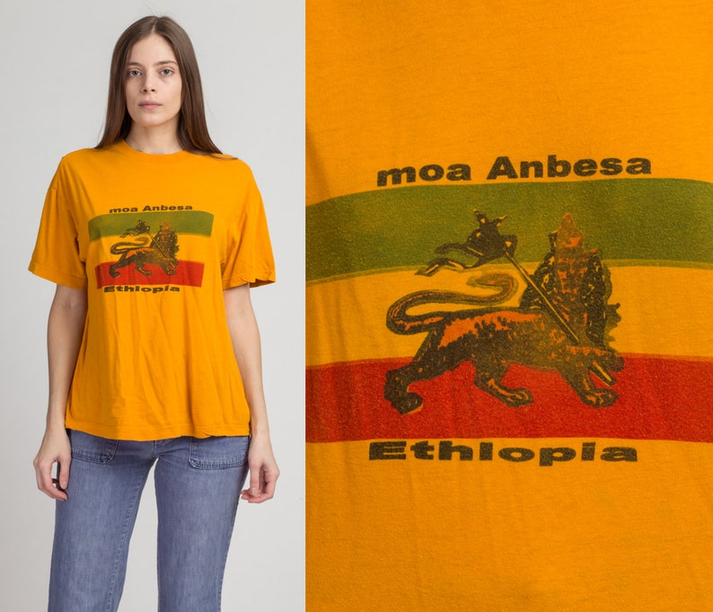 Vintage Ethiopian Flag T Shirt Extra Large 90s Yellow Lion OF Judah Graphic Tourist Tee