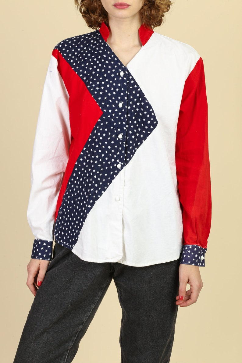 Large Vintage Red White /& Blue Button Up Flag Shirt 80s Americana Western Shirt