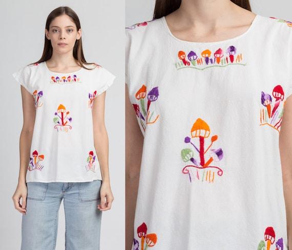 70s Embroidered Mushroom Peasant Blouse - Large |