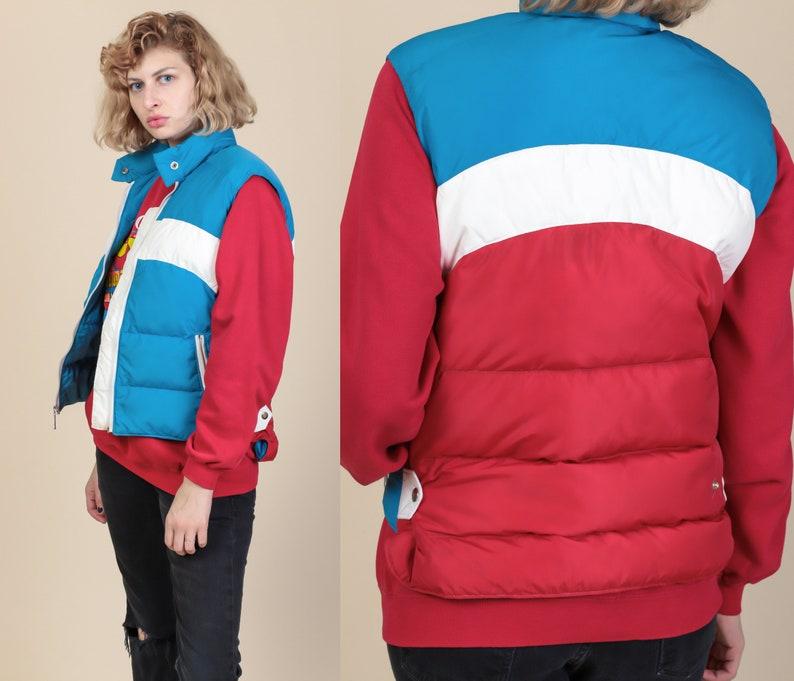 9b3cc6bceb4 70s Retro Striped Puffy Vest Medium Vintage Red White Blue