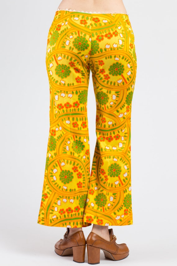 70s Lanz Psychedelic Yellow Flared Pants - Medium… - image 5