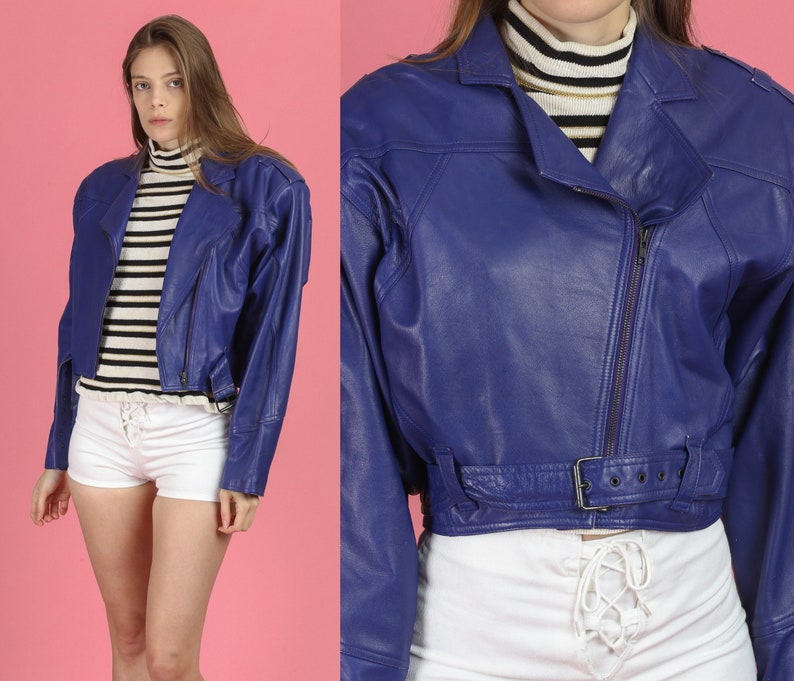 new high quality ever popular retail prices 80s Cropped Purple Leather Jacket - Medium | Vintage Moto Bomber Coat